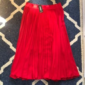 Express Red Pleated Midi Skirt
